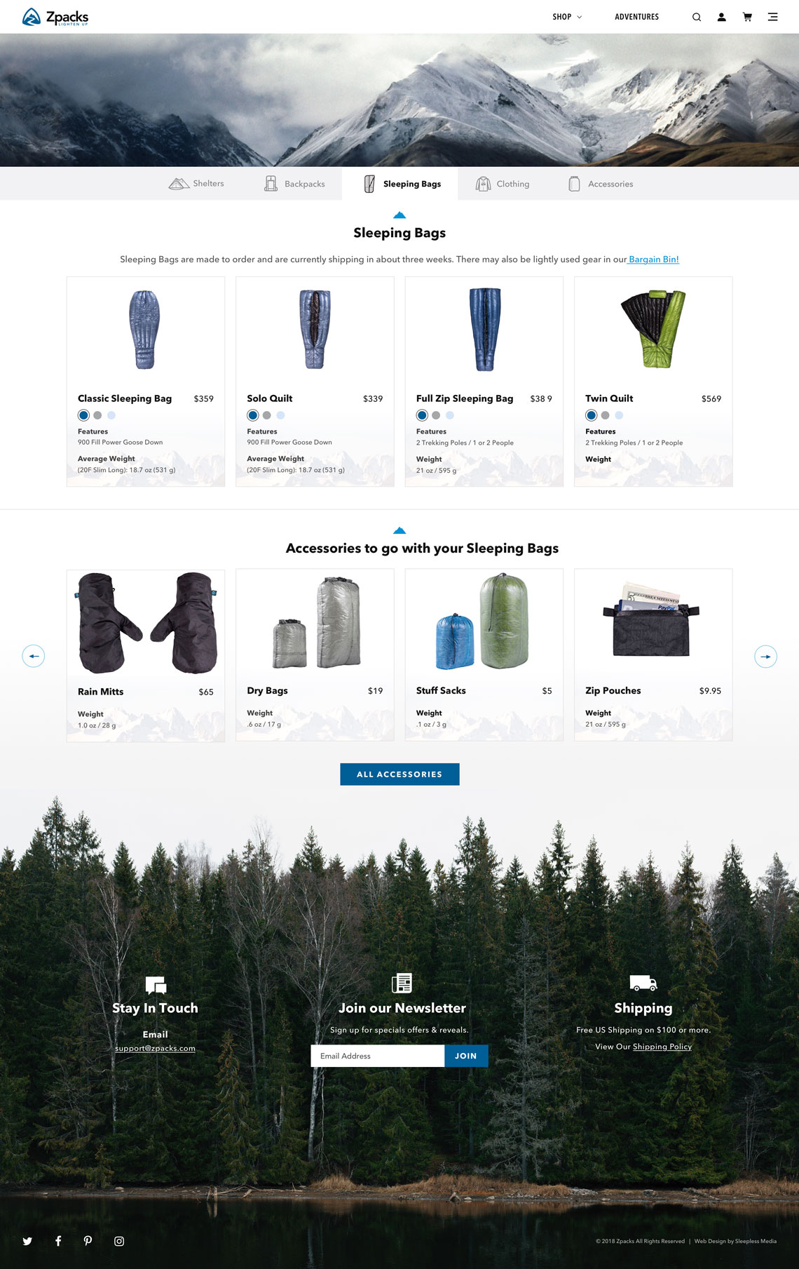ZPacks Shop Category Page